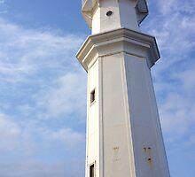 Newhaven Harbour lighthouse, Edinburgh, Scotland.  by LBMcNicoll