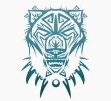 Fierce Tribal Bear T-Shirt Design (Teal) by chief9928