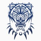 Fierce Tribal Bear T-Shirt Design (Dark Blue) by chief9928