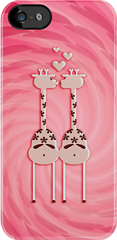 Pink Giraffe Lovers by vivendulies
