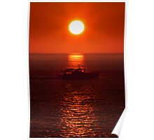 sunset boat Poster