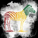 Red Green and Yellow Rasta Zebra by RedPine