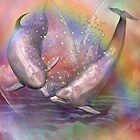 Dolphins - Love Bubbles by Carol  Cavalaris