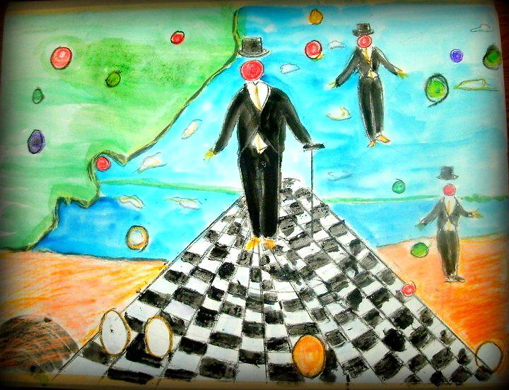 AnOther OReilly ORiginal Painting three tux tax men floating /playing  away on a game of checkers  by Timothy C O'Reilly