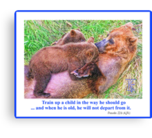 Brown Bear and Cubs Canvas Print