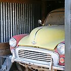 Morris Minor car painted pink and yellow by brians101