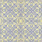 Middle Eastern Tile Pattern in Blue and Yellow by RedPine
