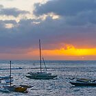 Sunset over Waikiki Bay II by David Davies