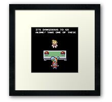 It's Dangerous to go Alone (Squirtle) Framed Print