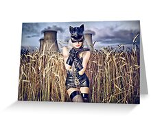 Silverrr cat in the field of gold Greeting Card