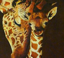 Mother and baby giraffe - oil painting by Chris Brunton