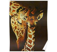 Mother and baby giraffe - oil painting Poster