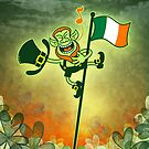 Green Leprechaun Singing on a Flag Pole by Zoo-co