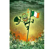 Green Leprechaun Singing on a Flag Pole Photographic Print