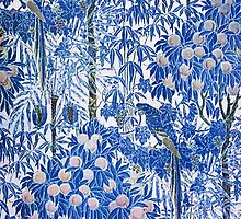 Blue Peach Tree Orchard Pattern by RedPine