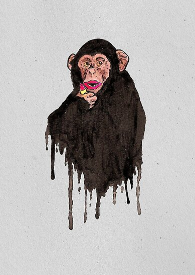 Lipstick Chimp by Calum Margetts Illustration