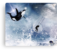 ...And the Whale Jumped Over the Moon... Canvas Print