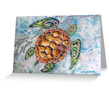 """Honu Island Waters"" Tropical Tribal Sea Turtle Painting by Christie Marie Elder-Ussher Greeting Card"