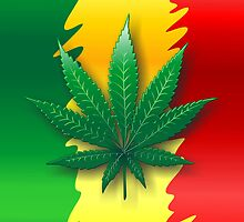 Cannabis Leaf on Rasta Flag  by BluedarkArt