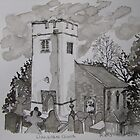 Pen and Ink-Llanarthne Church-01 by Pat - Pat Bullen-Whatling Gallery