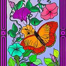 Butterfly and flowers by John Ryan