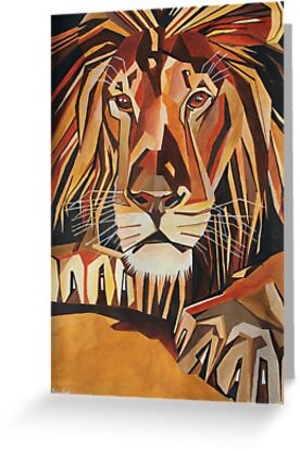 Lion Portrait in Cubist Style by taiche