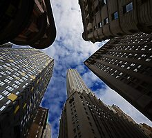 Looking up a skyscraper office block in New York City 2 by Anton Oparin