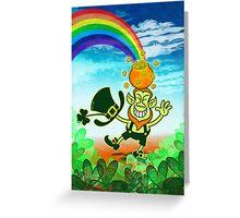 Green Leprechaun Balancing a Pot on his Head Greeting Card