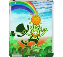 Green Leprechaun Balancing a Pot on his Head iPad Case/Skin