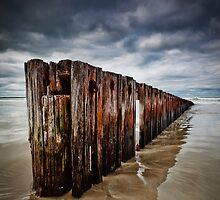 Old Timber Sea Fence in Port Fairy by hangingpixels