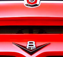 Red Ford F100 truck V8 emblem by htrdesigns