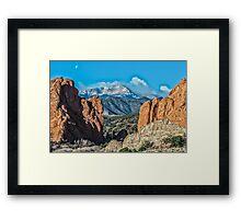 Pike's Peak at Sunrise and Moonset Framed Print