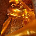 Statue of Reclining Buddha at Wat Pho, Bangkok  by NatureBeauty