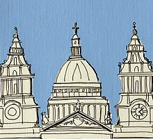 St Paul's Facade ( Blue ) by Adam Regester