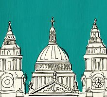 St Paul's Facade ( Teal ) by Adam Regester