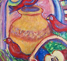 3 Redbirds in the Moonlight by artqueene
