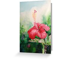 """Aloha"" Tropical Red Hibiscus Hawaiian Flower Painting by Christie Marie Elder-Ussher Greeting Card"
