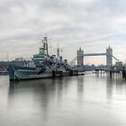 HMS Belfast on the Thames by Peter Ellison