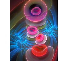 Neon Spirals and Bubbles, abstract fractal art Photographic Print