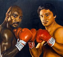 "Fine art painting ""Marvellous Marvin Hagler and Roberto Duran"" by barryjdavisart"