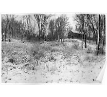 Winter Barn 1 - Black and White Poster