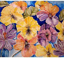 Pansies and Crocus  by Gea Austen