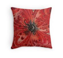 Red Flower 1 - Vibrant Red Floral Art Throw Pillow
