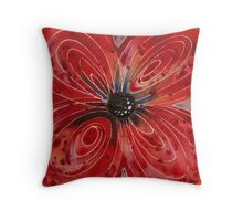 Red Flower 2 - Vibrant Red Floral Art Throw Pillow