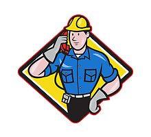 Telephone Repairman Lineman Worker Phone by patrimonio