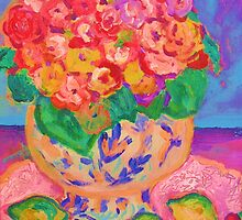 China Vase with Flowers and Fruit by artqueene