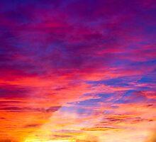Blazing Sunset Sky by Kenneth Keifer