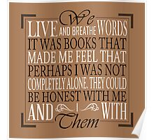 We Live and Breathe Words (Brown) Poster