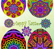Easter card with Fractal eggs, flowers and Text by walstraasart