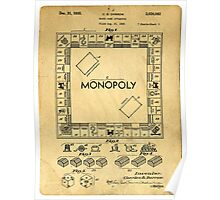 Original Patent for Monopoly Board Game 1936 Poster